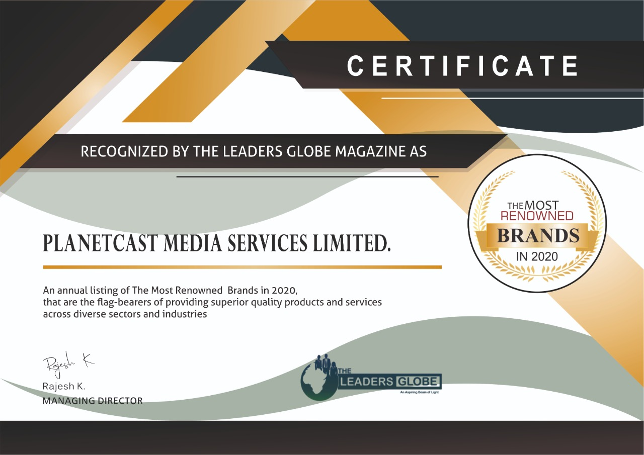 PlanetCast Media Services -Certificate